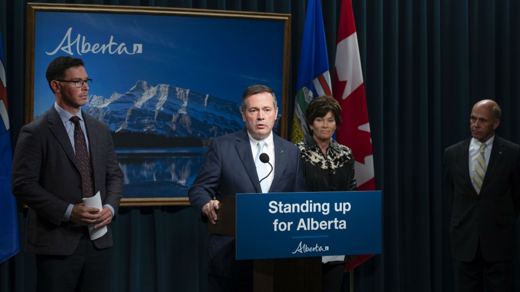 Premier Jason Kenney, Minister of Energy Sonya Savage and Minister of Justice and Solicitor General Doug Schweitzer announce the launch of a public inquiry into foreign-funded anti-Alberta energy campaigns.