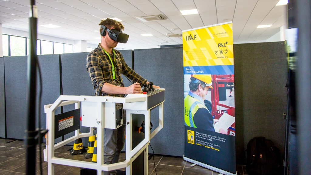 "As part of the event's ""Innovation Stations,"" which featured new products and technology, United Rentals exhibited a Serious Labs' MEWP VR simulator, demonstrating a preview of the new PAL+ training modules to industry attendees."