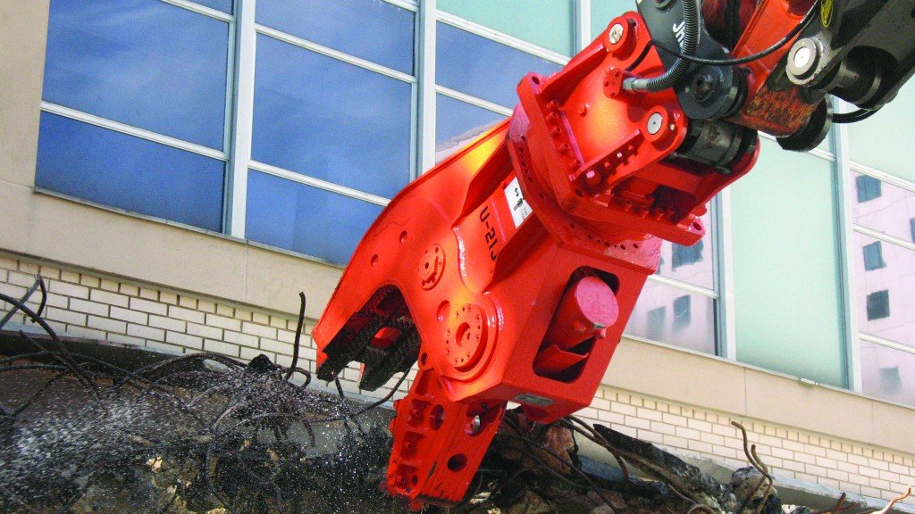 NPK demolition tool crushes reinforced concrete with ease