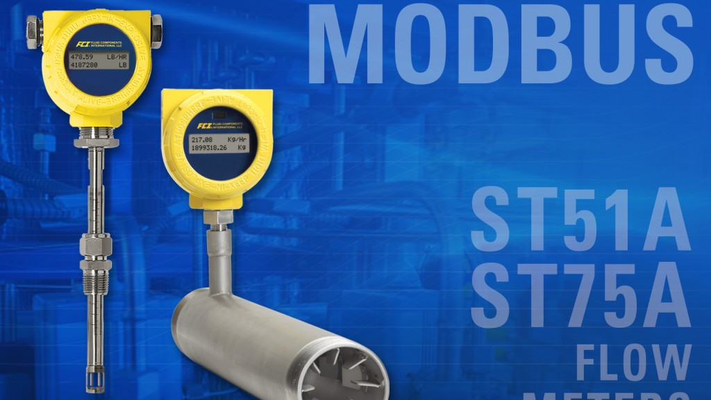 Modbus now available on FCI line of compact thermal mass air/gas flow meters