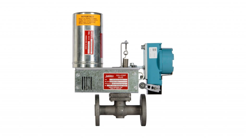 R.G. Laurence 2500 series two-way globe-type piston valves are operated by an external lever connecting the lifting action of the linear actuator to the valve piston via a rotary shaft.