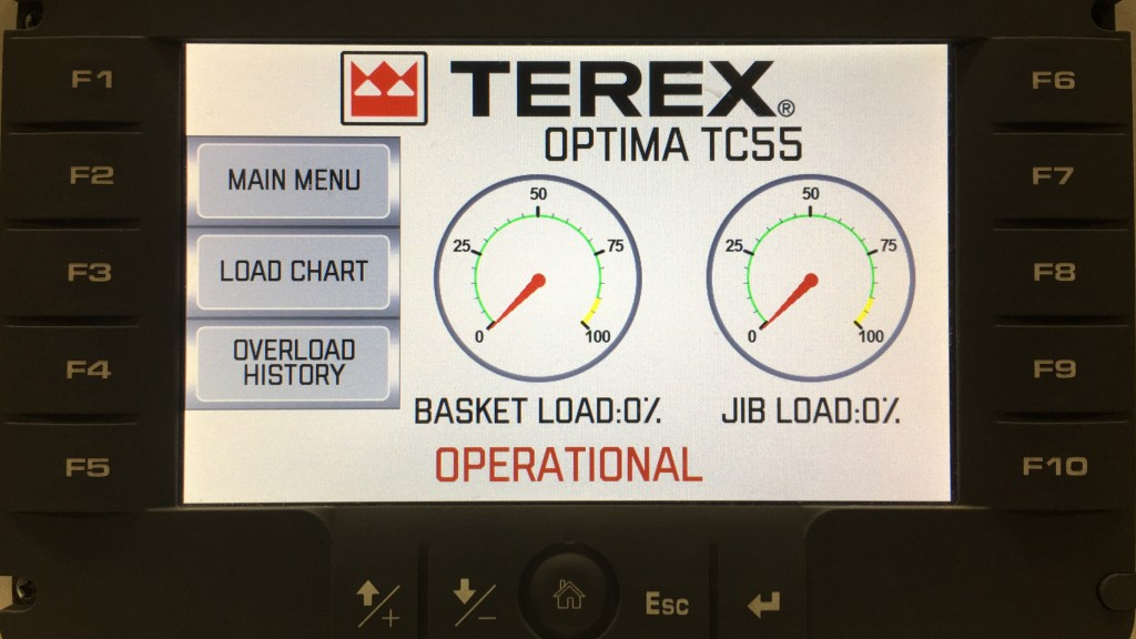 The initial screen on Terex's Load Alert indicates that the system is operational.