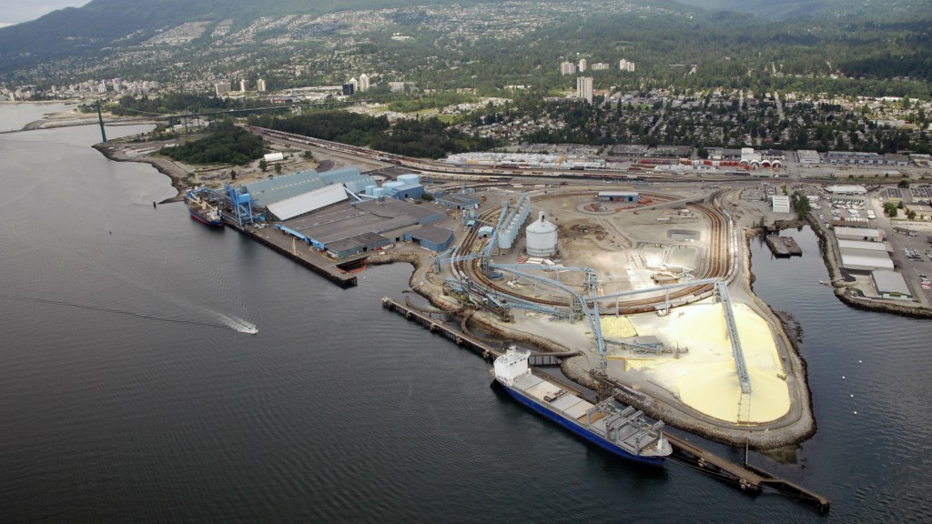 Vancouver Wharves, a busy import/export and bulk material facility, is part of the purchase of Kinder Morgan Canada by Pembina Pipeline.
