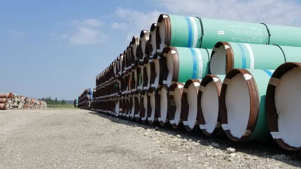 Pipe stands ready for construction to start on the Trans Mountain Expansion Project.