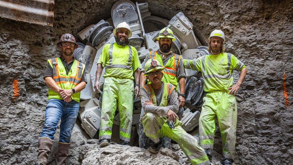 The S.J. Louis Construction crew celebrate the successful and safe completion of the Parmer Lane Wastewater Interceptor with a Robbins TBM.