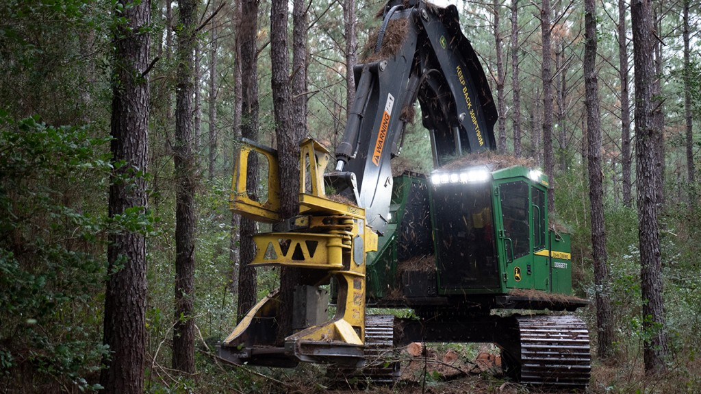 John Deere's new felling heads collect larger, tighter bunches