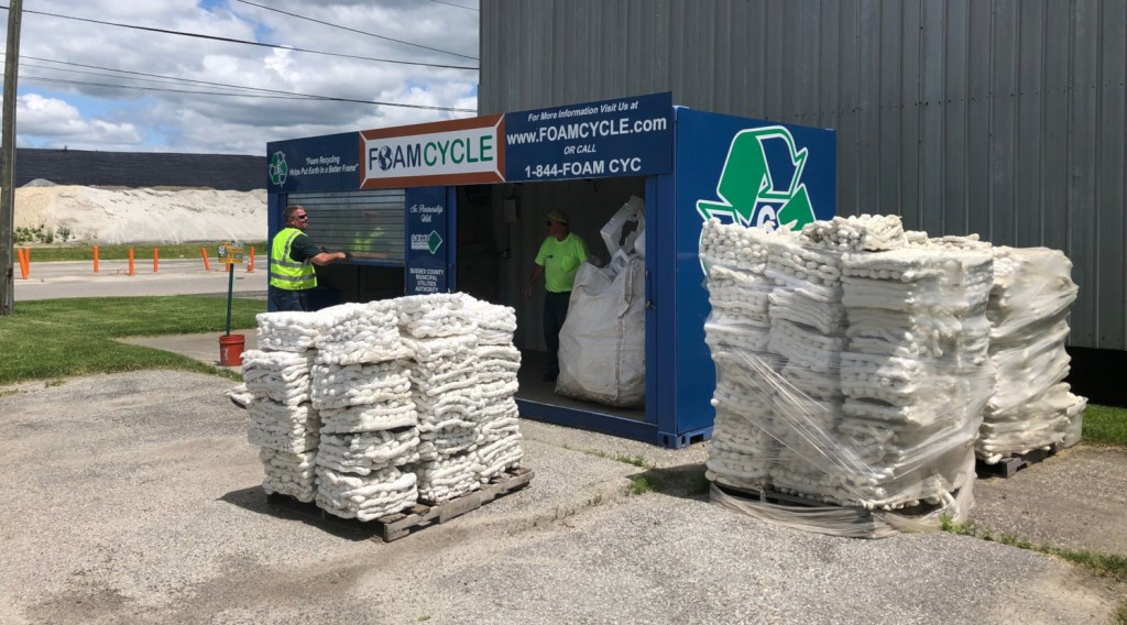 The Foam Cycle system enables the collection of EPS ('styrofoam') for recycling into new products such as picture frames, which can then be recycled over and over.