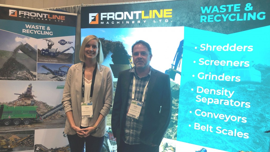 On the show floor at WREC 2019: Crissy Ram, senior director, marketing & business development, Frontline Machinery Ltd. and RPN editor Keith Barker