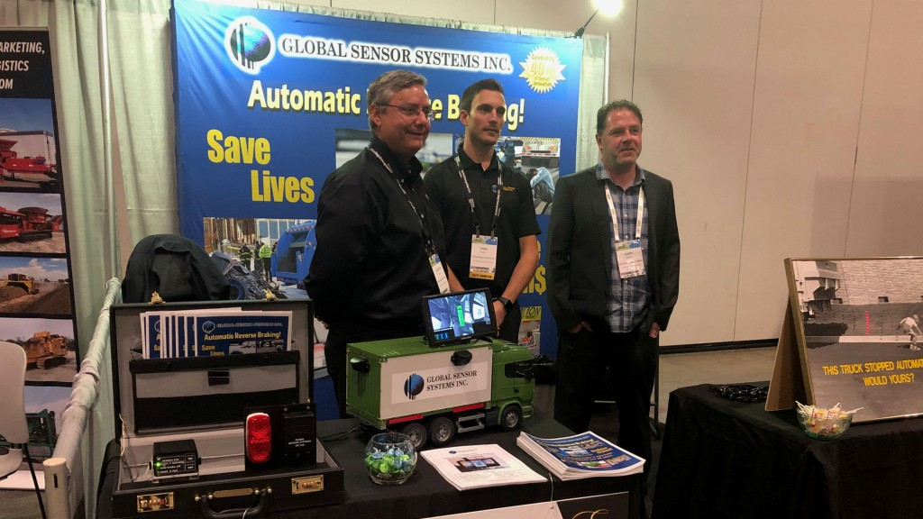 On the Waste & Recycling Expo 2019 show floor:  Jonathan Gee, manager of sales & marketing, Global Sensors Systems, with team member and RPN editor Keith Barker