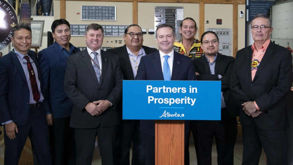 Premier Kenney announces legislation to set up the Alberta Indigenous Opportunities Corporation, L to R: Calvin Helin, Grand Chief Arthur Noskey, Minister Rick Wilson, Stephen Buffalo, Herb Lehr, Chief Billy Morin, Chief Joe Weasel Child.
