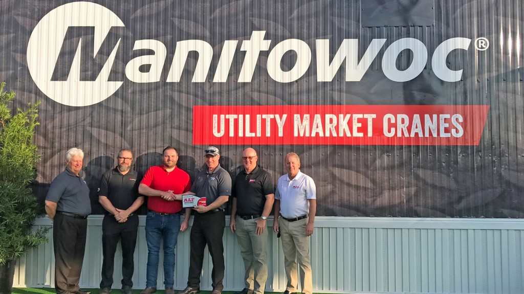 From left to right: Tim Moffitt (regional business manager, Manitowoc), Chris Kornelly (manager regional sales, Manitowoc Crane Care), Josh Bacci (general manager, ALT Sales), Mike Heinrich (VP sales, National Crane), Joe Ruddell (sales manager, Dawes), Stan Kaussube (sales representative, Dawes).
