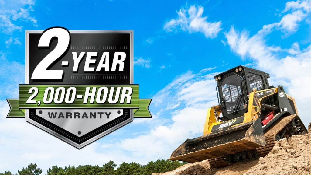 ASV Holdings Inc. backs up the quality of its equipment with a new 2-year, 2,000-hour warranty for its Posi-Track® and skid-steer loaders. The warranty covers compact track loader tracks for the entire warranty period and features the industry's first and only compact track loader no-derailment guarantee.