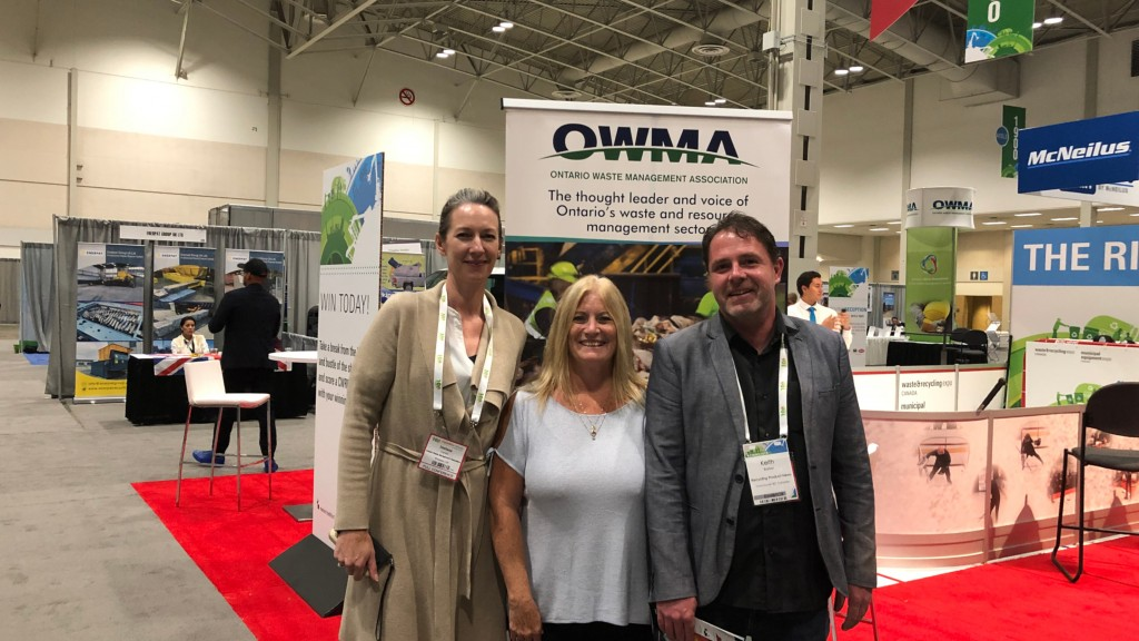 On the show floor at CWRE 2019 in Toronto, October 10th, with Michele Goulding (centre) and Melissa Carlaw from the Ontario Waste Management Association.