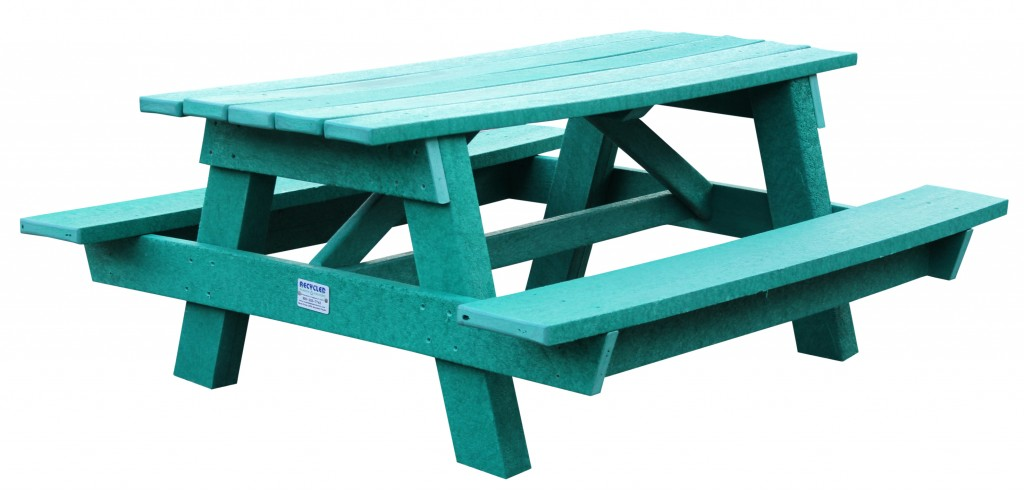 This picnic table made from recycled materials is one example of how TerraCycle helps companies turn their hard-to-recycle materials into valuable new products.
