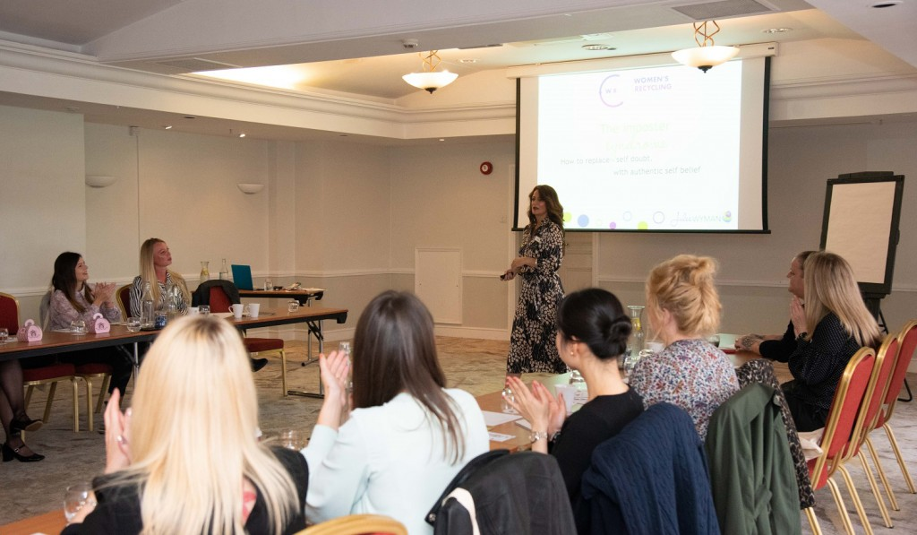 Jules Wyman speaking at the Imposter Syndrome workshop with delegates at a recent Women's Recycling Alliance (WRA) event at the Forest of Arden Marriott Hotel & Country Club in Birmingham, England.