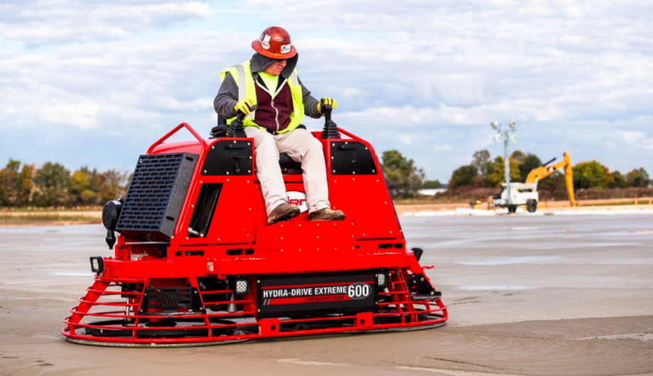 Allen hydra-drive extreme riding trowel for high-volume flatwork