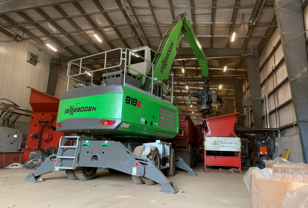 At John Zubick's new facility in London, Ontario, a Sennebogen 818 material handler equipped with a mag-grab allows complete versatility to switch between serving two lines, minute to minute.