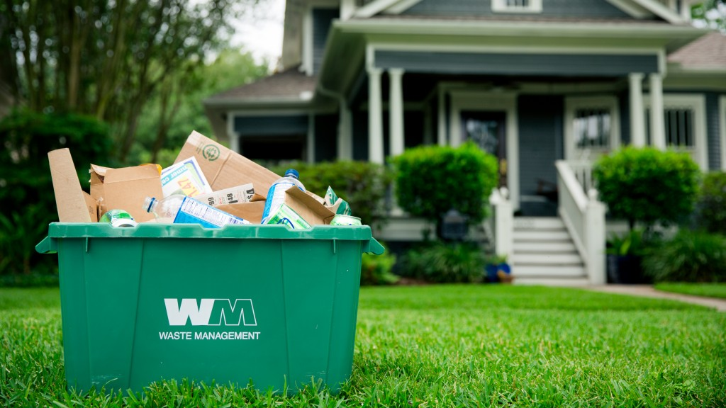 WM recycling bin at the curb in front of house