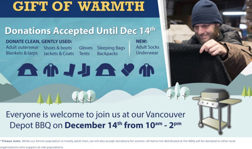 """Gift of Warmth"" donation poster"