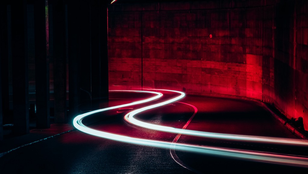 neon lights in a road tunnel