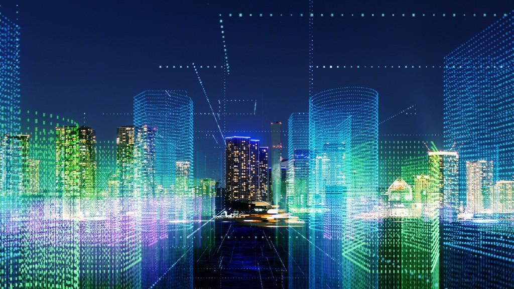 futuristic interpretative image of buildings