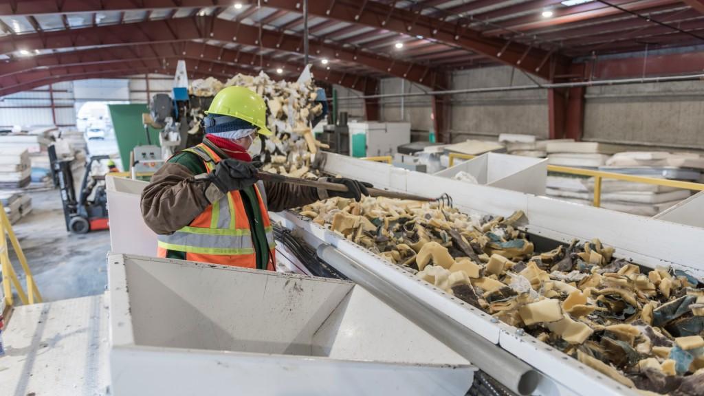 Pacific Mattress Recycling worker on foam line