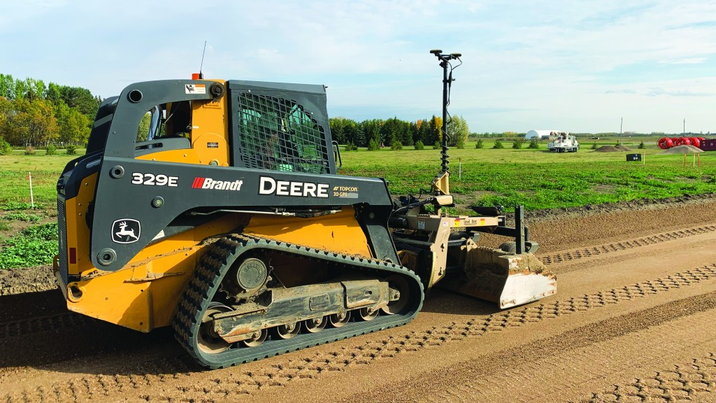 Jonhn Deere and Topcon compact track loader