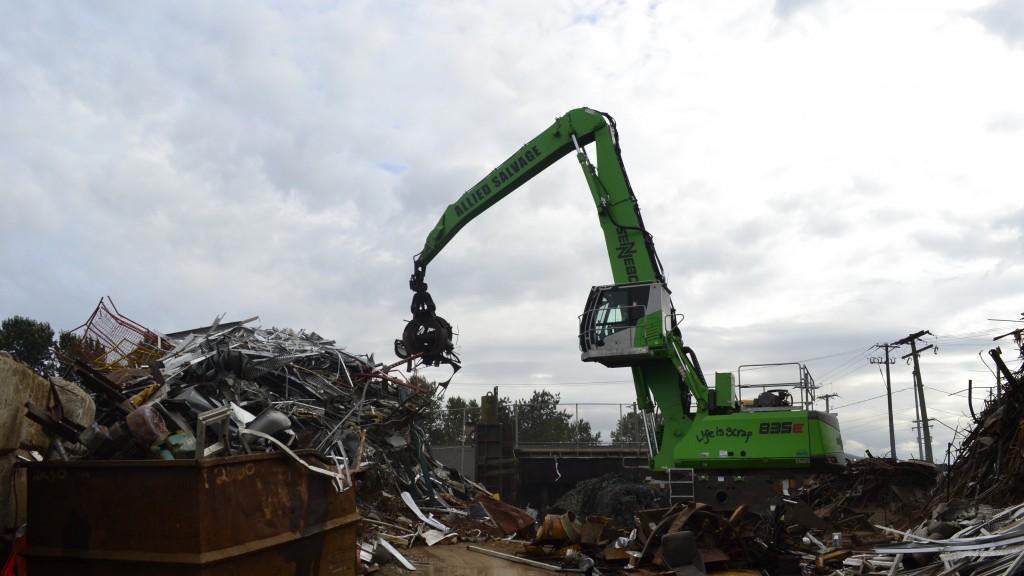 material handler in a scrap yard