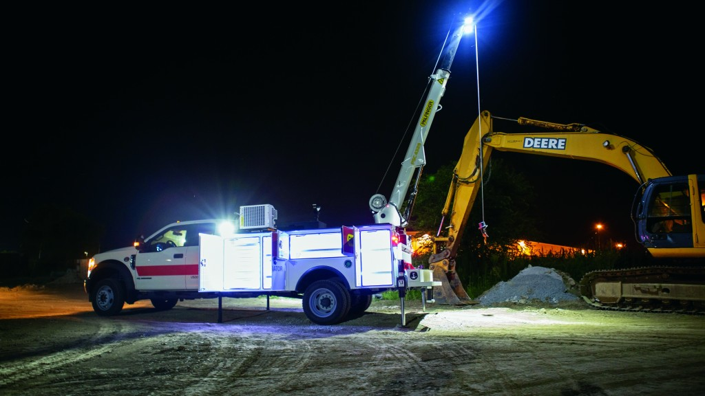 work done at construction site at night with lights