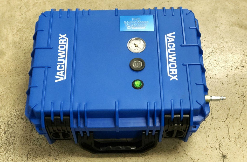 25-pound Vacuworx vacuum lifting system moves 100 times its own weight
