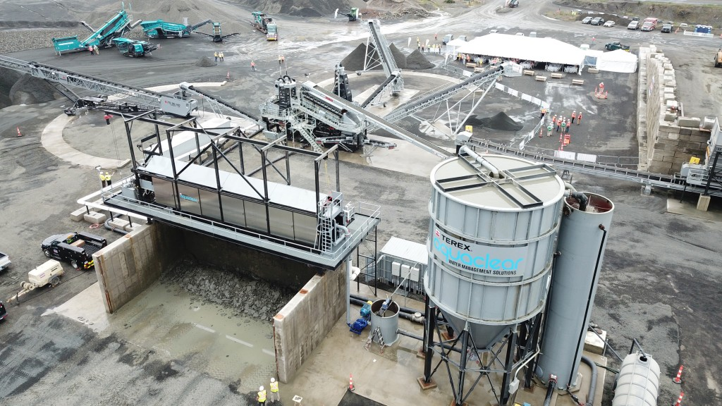 terex washing system aerial shot
