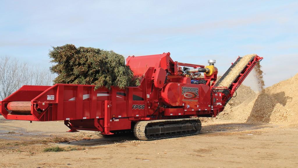 FP-66 horizontal grinder grinding a pine tree