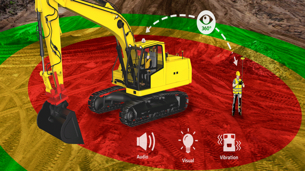 Leica Geosystems software provides alerts to help prevent collisions on jobsites
