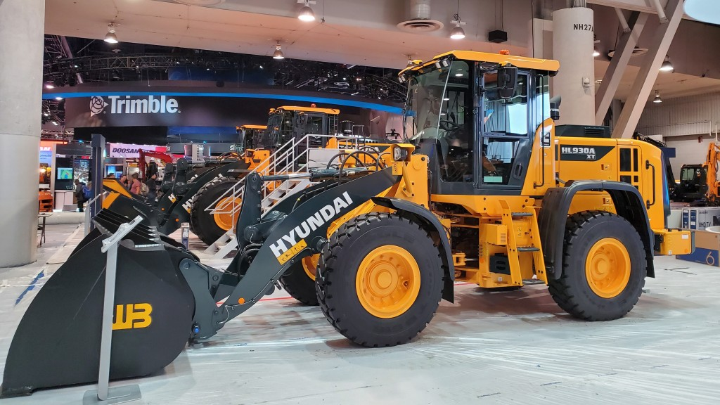 Hyundai Construction Equipment wheel loader on display