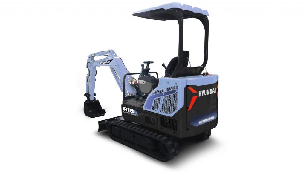 hyundai r18e electric compact excavator