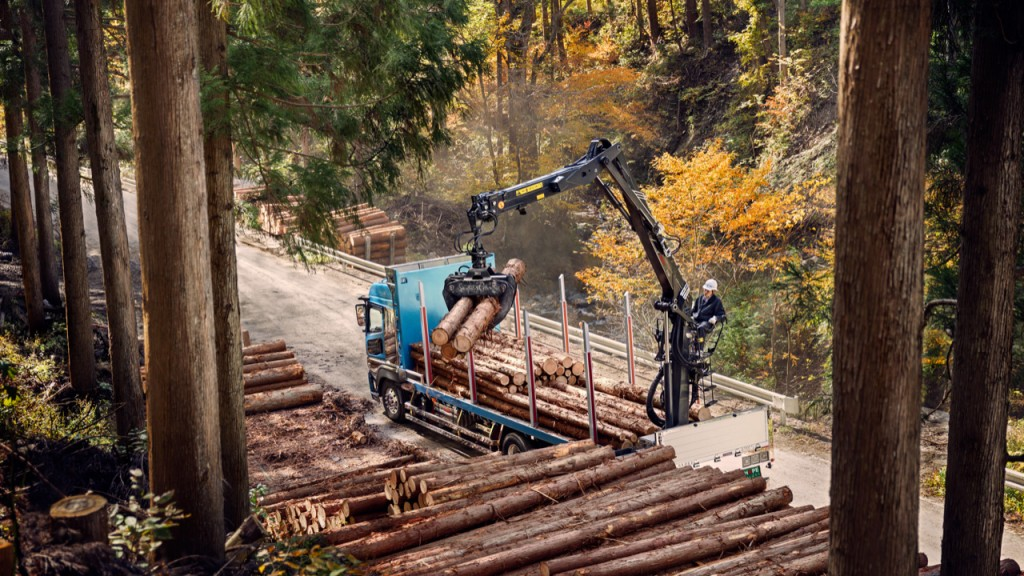 truck mounted crane working in forestry operation