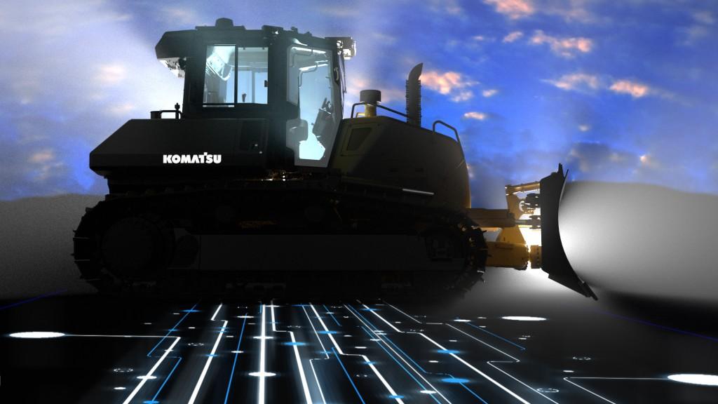 Komatsu crawler dozer at night in shadows
