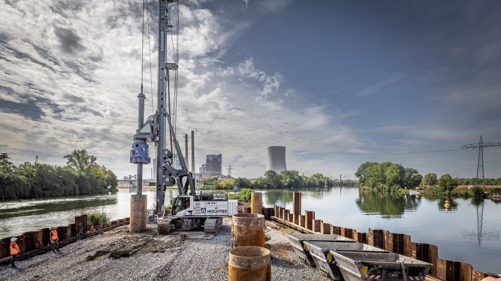 Liebherr  LB 45 drilling rig at work on a strip of road by river