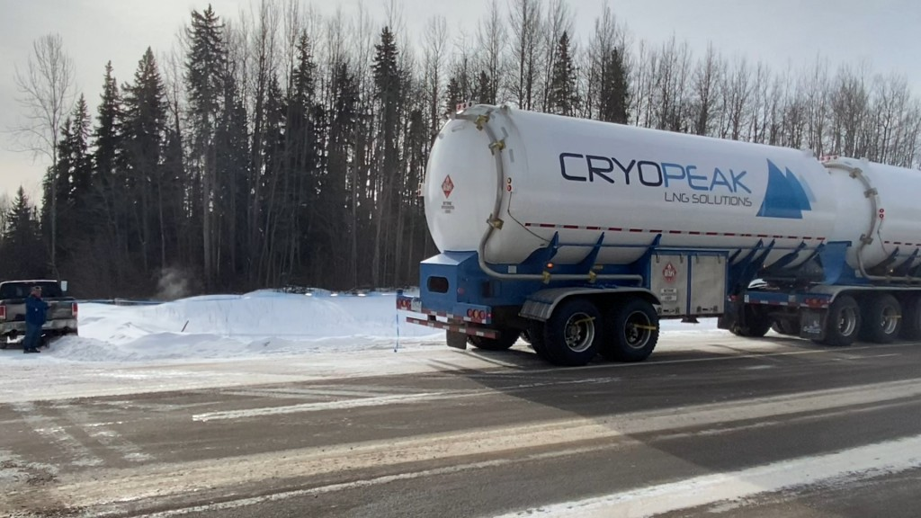 Cryopeak LNG Solutions tanker drives on road
