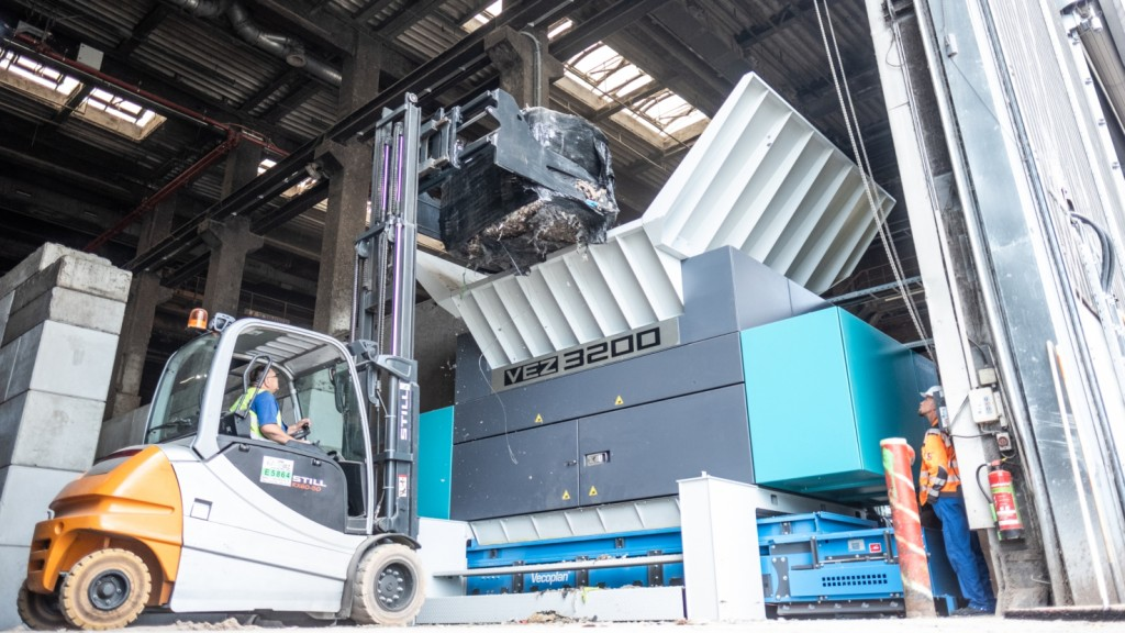 Vecoplan's Red Dot Award winning VEZ 3200 pre-shredder is ideal for refuse-derived-fuel operations.
