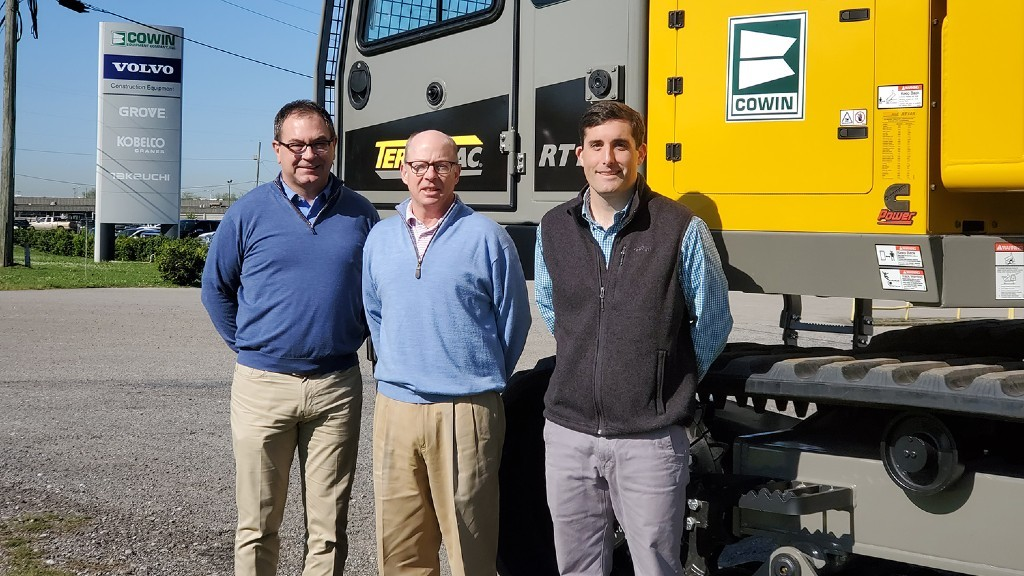 Cowin Equipment will represent the Terramac product line in Alabama, Florida and Georgia. Pictured left to right: Tim Gann (VP, General Sales Manager), Jamie Cowin (President/CEO), and Matt McGowan (VP, Sales and Marketing) of Cowin Equipment.
