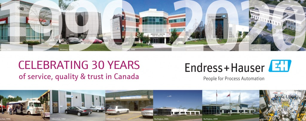infograph of Endress+Hauser celebrates 30 years of serving Canadians