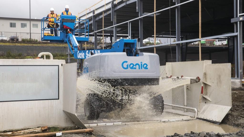 Genie S-45 XC boom being washed.