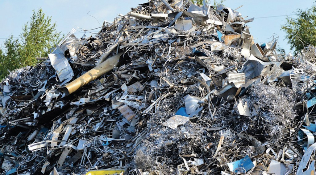 pile of recycled metal