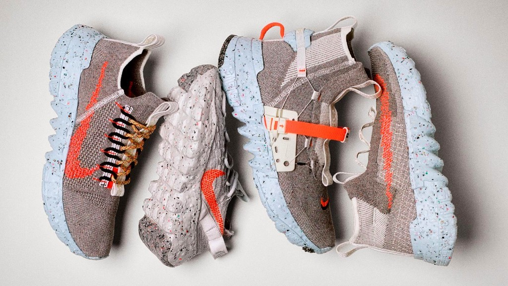 """Space Hippie, Nike's exploratory footwear collection constructed with """"space junk"""" — transformed factory and post-consumer waste — marries sustainable practices and radical design."""