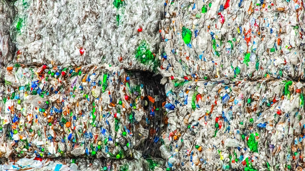 plastic bale closeup waste