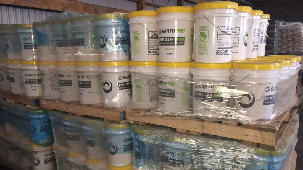 many buckets of Chem Clean Green bio-degradable rig wash