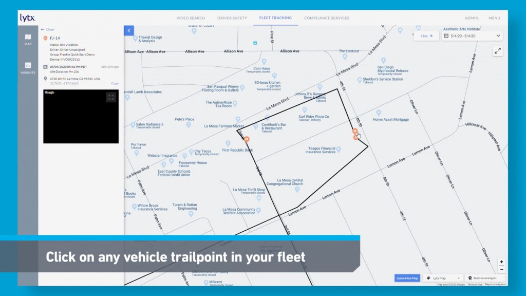 Lytxr fleet tracking solution that  enables real-time, location-based video search