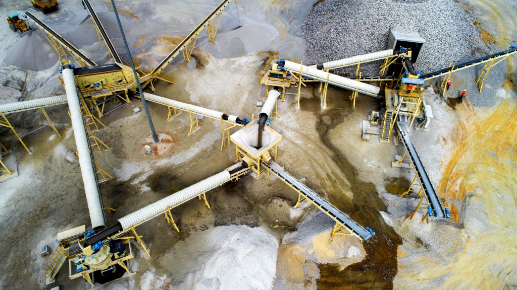 Aerial view of an aggregates operation