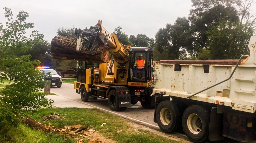 Gradall operator lifts trunk of tree after storm